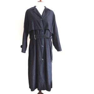 London Fog Long Trench Coat 10 Navy Heavyweight